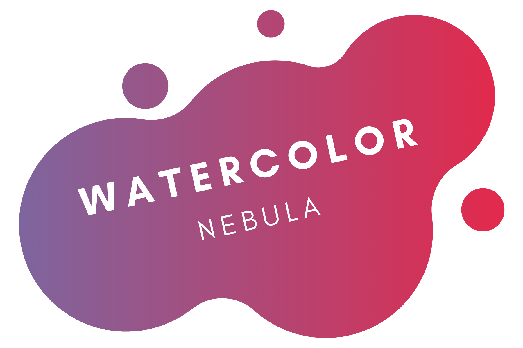 """""""Watercolor Nebula"""" in white text over a vector of purple and magenta gradient blob"""